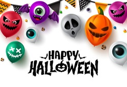 Happy halloween background vector banner design. Happy halloween text with colorful balloons element in scary face like pumpkin, eyeball, bat, and devil characters for halloween party design.