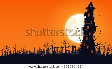 Happy Halloween background. Vector illustration. Full moon in the sky, flying bats.