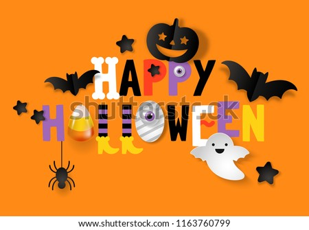 Stock Photo Happy Halloween banner design with typography and decorations background. Vector illustration