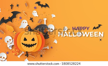 Happy Halloween banner or party invitation background. Graphic design for Halloween festival. Greeting card for celebration on Halloween. Cute Halloween. paper cut and craft style. vector illustration