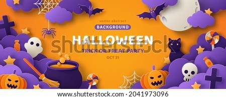 Happy Halloween banner or party invitation background with clouds, bats and pumpkins in paper cut style. Vector illustration. Full moon in orange sky, spiders web and witch cauldron. Place for text Сток-фото ©