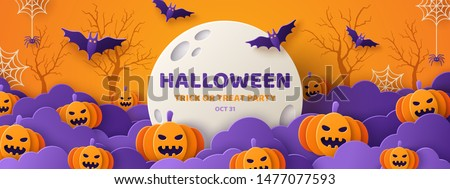Happy Halloween banner or party invitation background with violet fog clouds and pumpkins in paper cut style. Vector illustration. Full moon in orange sky, spiders web and flying bats. Place for text