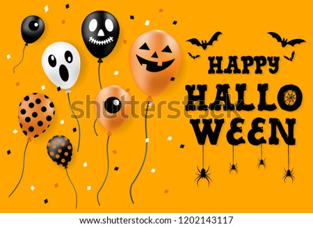 Happy Halloween Banner, Party Balloons, All Objects Are Grouped.  - Shutterstock ID 1202143117