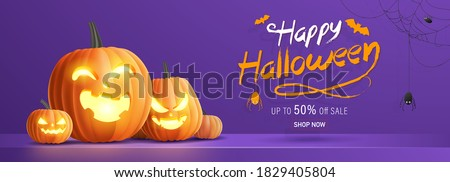 Happy Halloween banner, sale promotion or party invitation background with halloween pumpkins, spider and cobweb on purple background. 3D Vector illustration