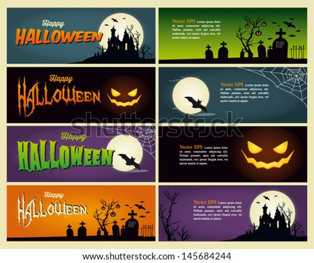 Happy halloween banner. Set of vector design elements.