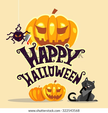 happy halloween banner template with text and cute cartoon halloween