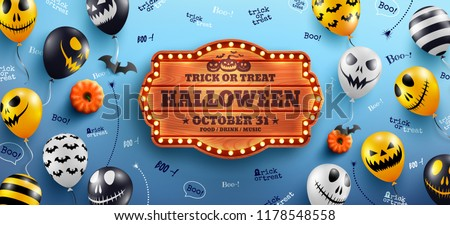 Happy Halloween Banner with Halloween text on vintage wooden board and Halloween Ghost Balloons on blue background.Scary air balloons.Website spooky or banner  template.Vector illustration EPS10