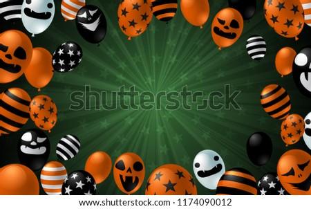 Happy Halloween banner with scary balloon on dark background design. Halloween celebration concept advertising vector illustration. - Shutterstock ID 1174090012