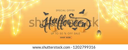 """Happy Halloween banners party invitation or sale poster background with Cobweb glowing lights .Vector illustration .Calligraphy of """"halloween""""."""