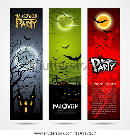 Happy Halloween banners set design, vector illustration - stock vector