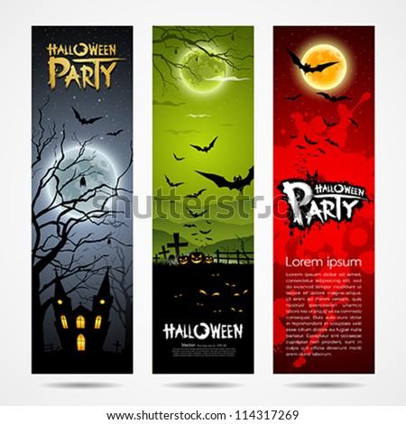 Happy Halloween banners set design, vector illustration