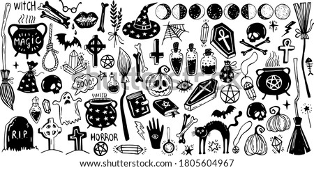 Happy halloween. Big set of horror hand drawn doodle. Collection halloween and magic elements. Pumpkins, ghost, skull, cemetery, black cat, magic cauldron, pot, hat, dream catchers, moon phases, broom