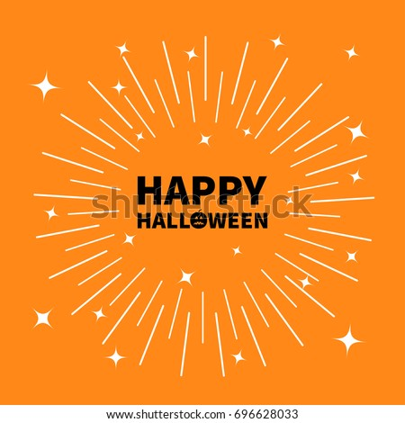 Happy halloween black text Pumpkin smiling face silhouette. Sunburst round line circle. Shining effect stars. Abstract shape. Decoration element. Orange background. Isolated. Flat design. Vector Foto stock ©