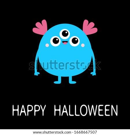happy halloween blue monster