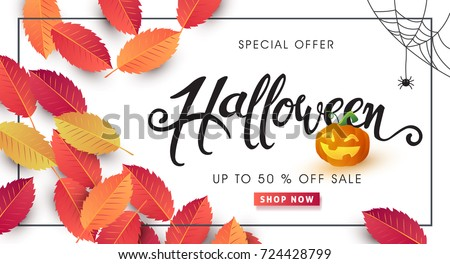 Happy Halloween calligraphy. banners party invitation.Vector illustration. #724428799