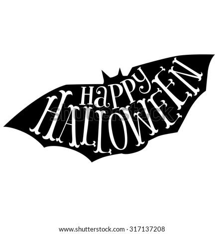 Happy Halloween Calligraphy. Halloween banner. Halloween lettering. Bat silhouette.