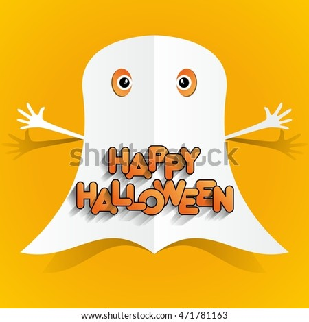 Happy Halloween card design elements on background, vector illustration #471781163