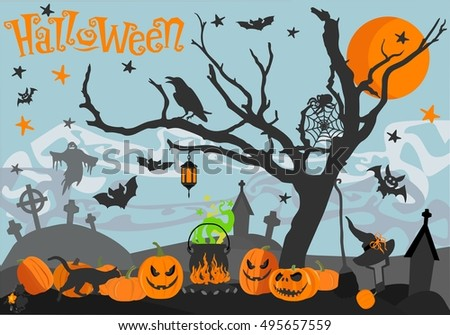Happy Halloween card. Scary holiday poster. Vector illustration. Happy Halloween Illustrations: pumpkin, ghost, star, spider, bat, moon, cemetery, cross, crow, hat, broom, cauldron, wood, cat.