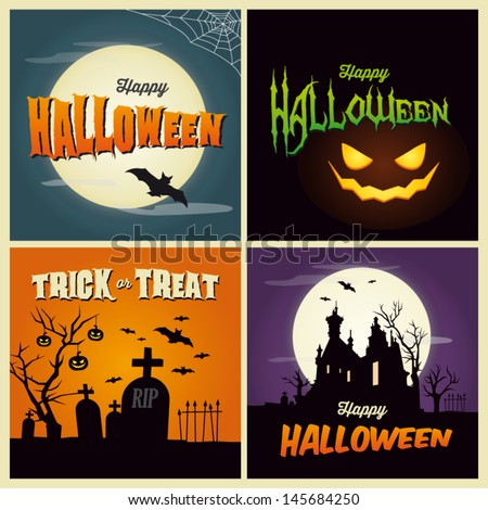 Happy halloween card. Set of vector design elements.