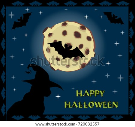 Happy Halloween Card. Silhouette Of Black Cat In Witch Hat On Full Moon  Background With