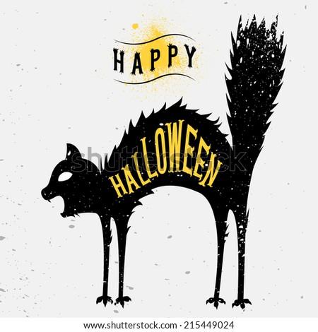 happy halloween card spooky cat
