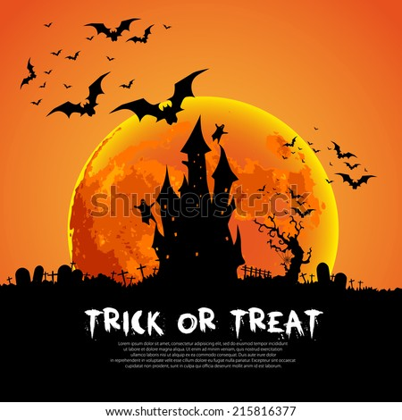 Happy Halloween Card Template, Mix of Various Spooky Creatures, Moon and Castle, Vector Illustration - Shutterstock ID 215816377