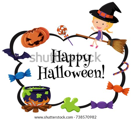 Happy halloween card template with witch and candy illustration