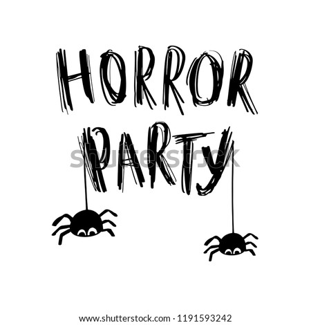 Happy halloween Card. Vector illustration with web, spider and grunge lettering text Horror Party. Trick or treat #1191593242