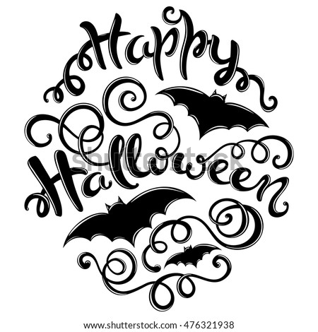happy halloween card with hand