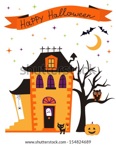 Happy halloween card with haunted house