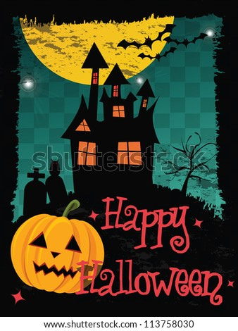 Happy Halloween card with haunted house, pumpkin, bats and cemetery, vector