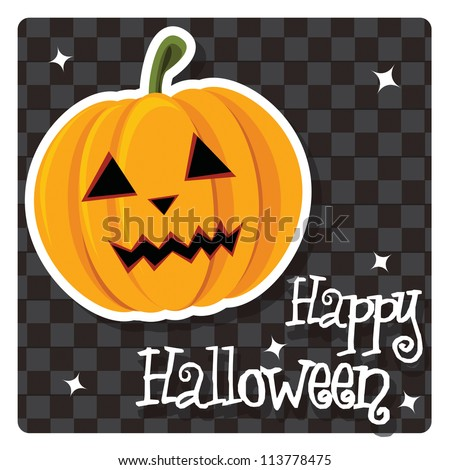 Happy Halloween card with pumpkin, vector