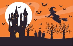 happy halloween card with witch flying in broom and castle vector illustration design