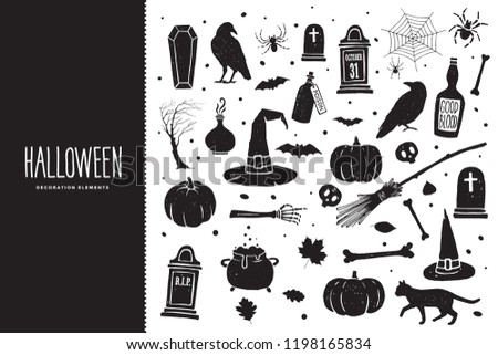 happy halloween cartoon set of