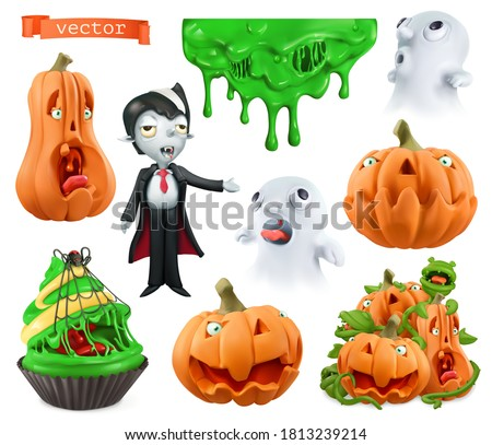 Happy Halloween. Carved pumpkins, cupcake, sticky drips, ghosts, vampire. Characters and objects 3d vector set