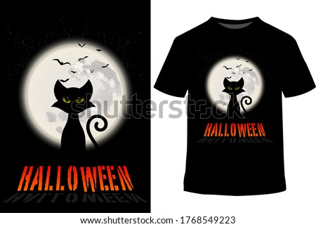 Happy Halloween cat t shirt design with vector background.skull, grunge vintage design t shirts.quote typography hand drawn style. Trick or treat shirt. horror t-shirts. Halloween costumes.funny, tee.