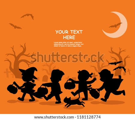 Happy Halloween. Children dressed in Halloween fancy dress to go Trick or Treating.