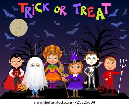 happy halloween children in halloween costumes vampire dracula devil witch pumpkin - Happy Halloween Com