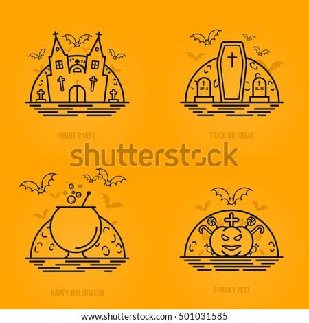 happy halloween concept icons