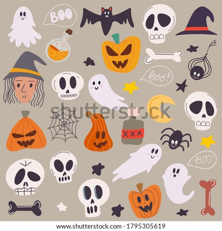 Happy halloween concept. Set of halloween attributes. Beautiful illustrations of a terrible and frightening holiday. Doodle drawing vector illustration of halloween attributes.
