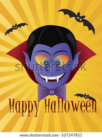 Happy Halloween Count Dracula with Bats Sun Rays and Text Illustration