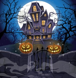 Happy Halloween cozy haunted house behind a stone wall