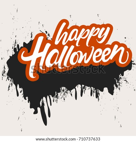 Happy Halloween, Creative vector hand lettering text with scary grunge on Retro background for the celebration of Halloween.