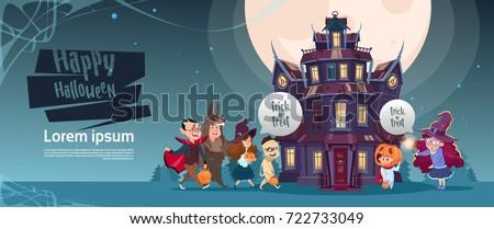 happy halloween cute monsters