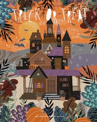 Happy Halloween. Cute vector illustration of a castle or mansion in a dark forest on nature with bats, freehand drawing for background, poster or card. Trick or treat!