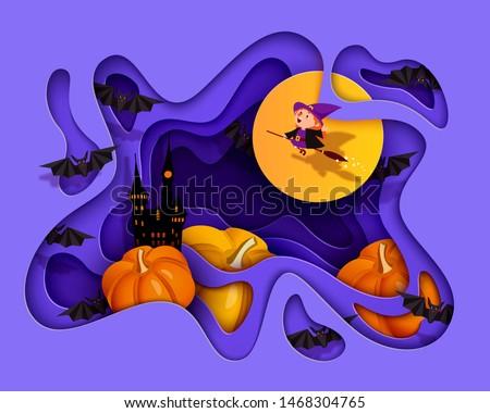 Happy Halloween 3d papercut layered design. Bat, witch, pumpkin, castle, ghost, moon. Purple and orange festive background. Vector illustration