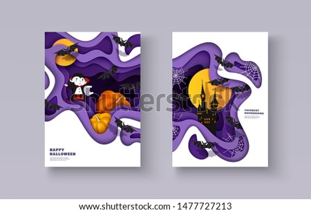 Happy Halloween 3d papercut layered design. Vampire, pumpkin, bat, castle, moon. Set of banners, flyers, posters, covers with multilayered effect. Vector illustration A4