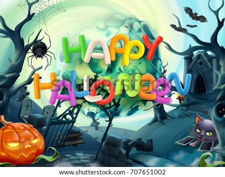 happy halloween 3d vector