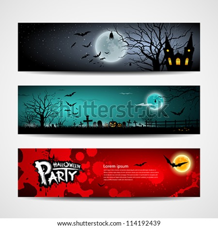 Happy Halloween day banner set design, vector illustration