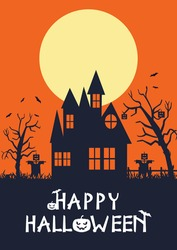 Happy Halloween Day, full moon in the night, bats flying, stars in the sky, pumpkins. vector illustration